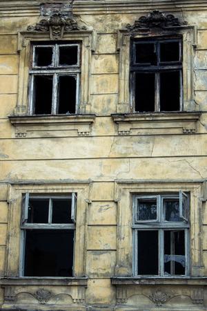 burning house: facade burning house Stock Photo