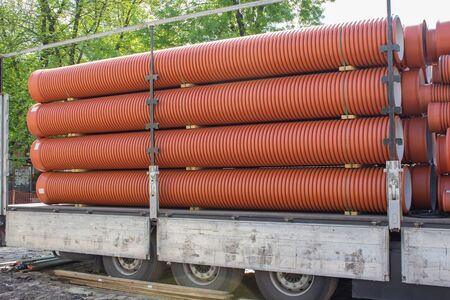 sewer: large sewer pipes Stock Photo