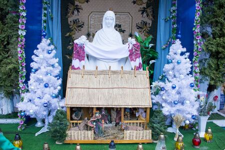 street wise: Near the mother of God is Christmas figurines statues decorated the streets