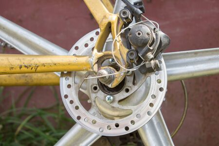 off road biking: disc brake at the rear wheel of a bicycle