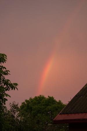 flashy: rainbow stripe in the evening the sky orange