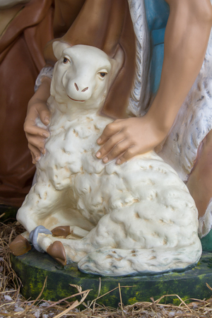 christmas statuette of a sheep,lamb christmas figure is beautiful