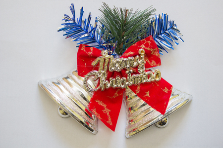 christmas bell,decorated Christmas bell, with the inscription of merry christmas Banco de Imagens
