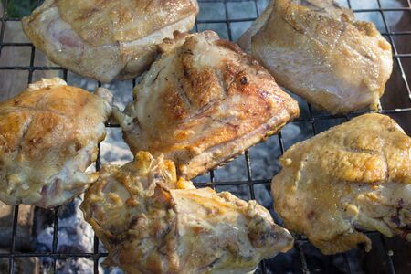 Cookin fresh marinated meat with smoke,pieces of meat are cooked on the smoke in the nature
