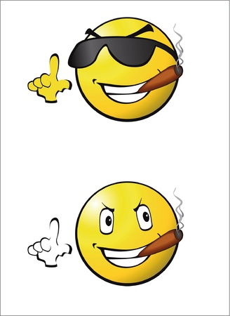 smileys: clip art  smileys smoking  Illustration