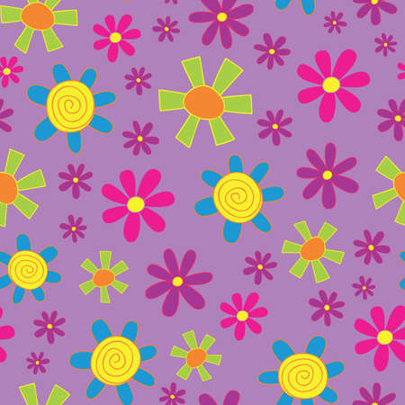Colorful Lilac Doodle Flower design in a Seamless Repeat Pattern.