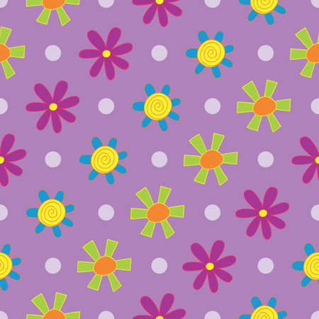 Dotty Diagonal Lilac Floral Seamless Repeat Pattern. Perfect for backgrounds, and use in scrapbook projects, packaging, decor, decoration, craft projects, card making, fabric, and textile printing.