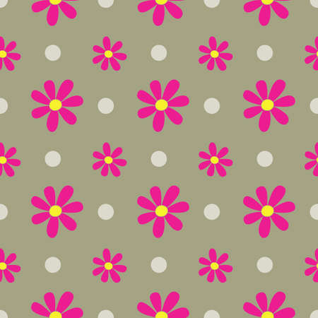 Polka dots and Bush Flowers in a Seamless Repeat Pattern. Perfect for backgrounds, and use in scrapbook projects, packaging, decor, decoration, craft projects, card making, fabric, & textile printing.  イラスト・ベクター素材