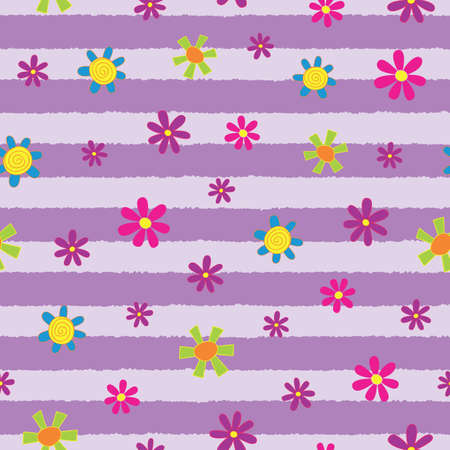 Lilac Stripe Floral Fun Seamless Repeat Pattern. Perfect for backgrounds, and use in scrapbook projects, packaging, decor, decoration, craft projects, card making, fabric, and textile printing. Ilustracja