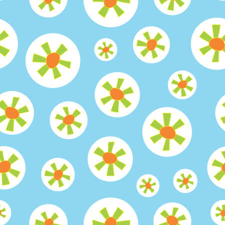 Light Blue Circle Green Floral Seamless Repeat Pattern. Perfect for backgrounds, and use in scrapbook projects, packaging, decor, decoration, craft projects, card making, fabric, and textile printing.