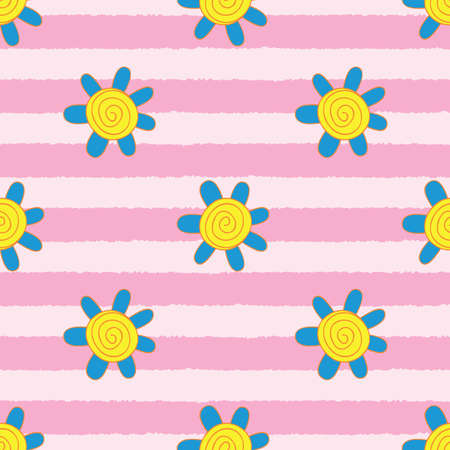 Striped Swirly Blue Flower Seamless Repeat Pattern. Perfect for backgrounds, and use in scrapbook projects, packaging, decor, decoration, craft projects, card making, fabric, and textile printing.