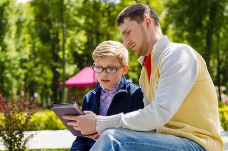 nephew: Young man is spending time with his nephew