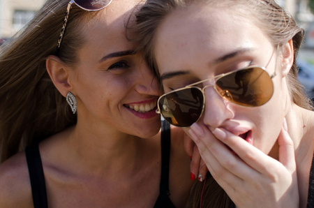 Two girlfriends enjoing time together during the summer