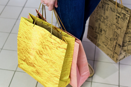paper bags: Close-up photo of paper bags