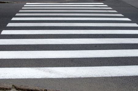 senda peatonal: emty crosswalk on the street Foto de archivo