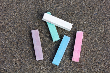 lillac: Pieces of chalk blue white lillac and pink Stock Photo