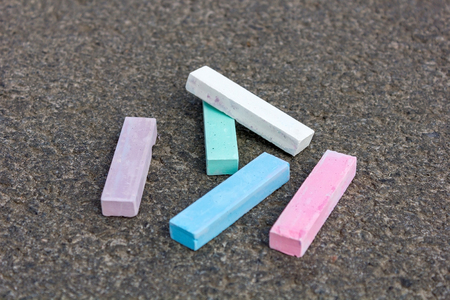 lillac: Pieces of chalk blue white and pink Stock Photo