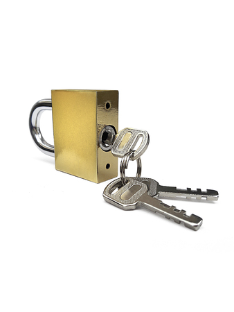Closed steel padlock with key isolated on white background