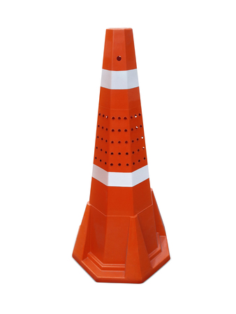Traffic cone on the sidewalk isolated on white background