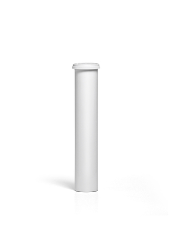 Round white matte aluminum tube with cap for effervescent or carbon tablets, pills, vitamins. Realistic packaging vector mockup template Imagens
