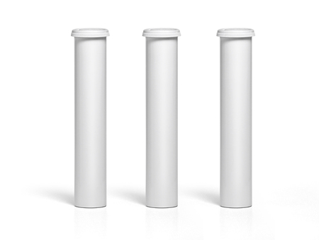 Round white matte aluminum tube with cap for effervescent or carbon tablets, pills, vitamins. Realistic packaging vector mockup template Banco de Imagens