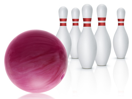 Bowling ball and skittles isolated on white background Stockfoto
