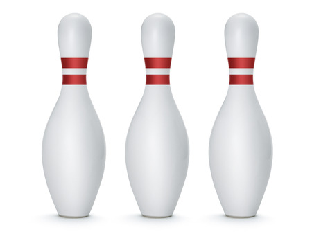 Group of Bowling Pins Isolated on White Background Stock Photo