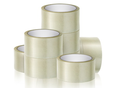 Roll adhesive tape, on isolated white background Stock Photo