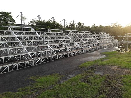 Sturdy steel galvanized portable bleachers in the field In the football field