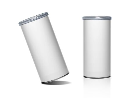 Cans packaging for snack product like potato chips or peanuts. Ready For Your Design