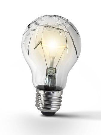 Broken bulb, isolated white background