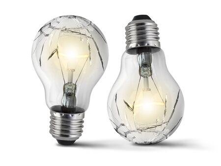 Broken bulb, isolated white background Stok Fotoğraf