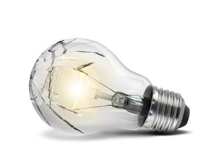 Broken bulb, isolated white background Stockfoto