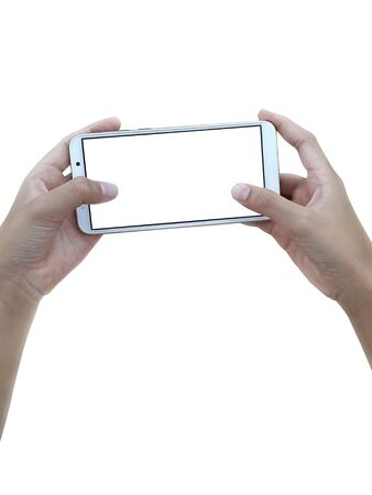 Two hands holding big screen smart phone