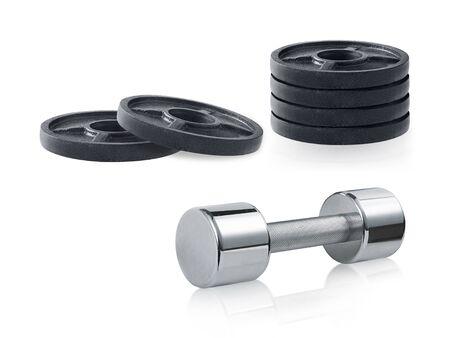 steel dumbbells isolated on white background