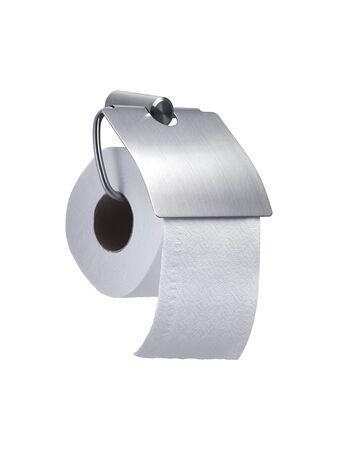 White toilet roll paper dispenser isolated on white background