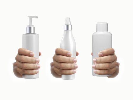 Man hands holding white cosmetics bottles