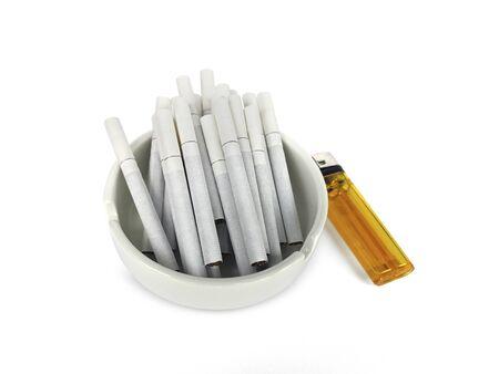 White ashtray and cigarette isolated on white background Archivio Fotografico