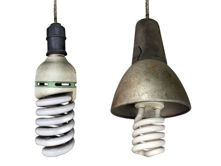 Old technology and wasting electricity, burned out light bulb - no idea concept Stock Photo