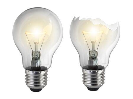 Defekte Glühbirne auf weißem Hintergrund Standard-Bild