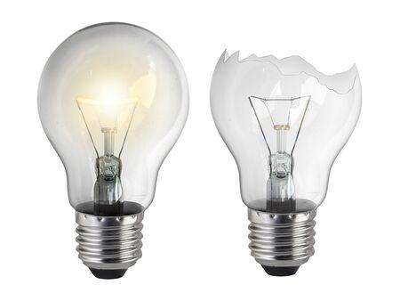 Broken light bulb isolated on white background