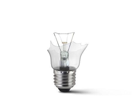 Broken light bulb isolated on white background