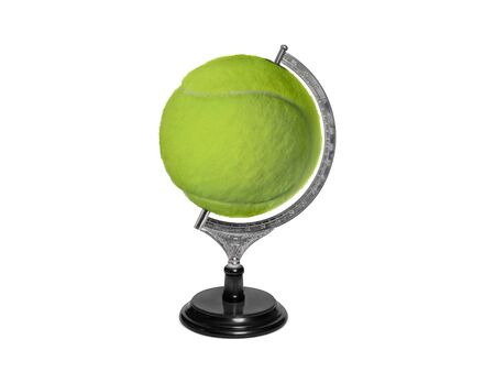 Globe sphere orb Tennis ball concepts on white background. Sport concepts