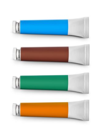 set of colored tubes with a paint on a white background