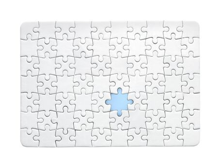 background of white puzzle with missing piece