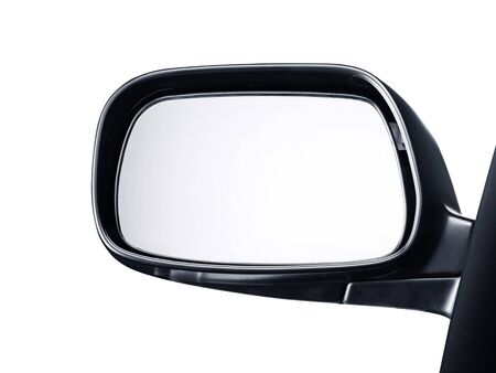 side rear-view mirror on a car white background