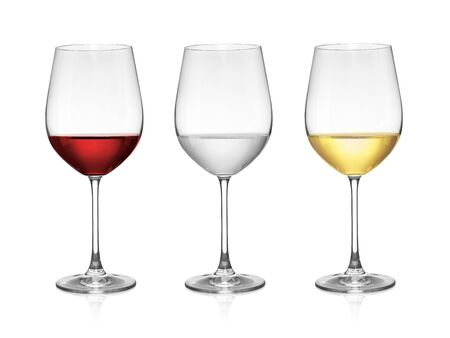 wine in a glass isolated on white background