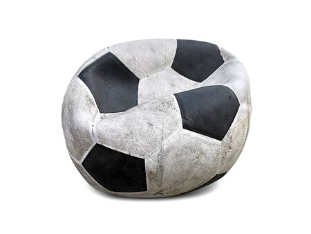 old deflated soccer ball isolated on white