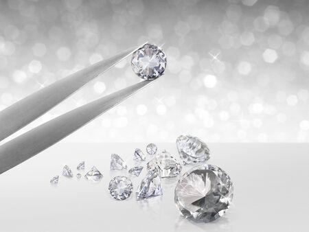 Diamond in tweezers on white shining bokeh background. concept for chossing best diamond gem design