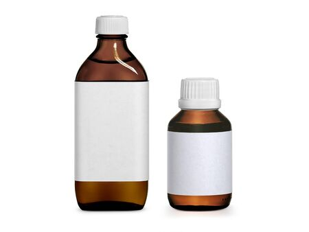 Brown medicine bottle with label isolated on white background